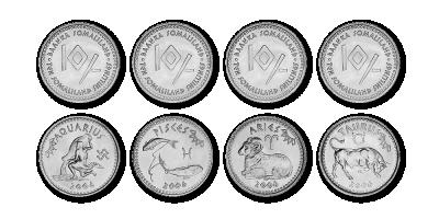 12 sodiaagimärki kujutav mündikomplekt