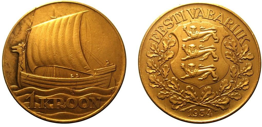 Eesti kaunim münt on Eesti Vabariigi 1934. aasta ühekroonine