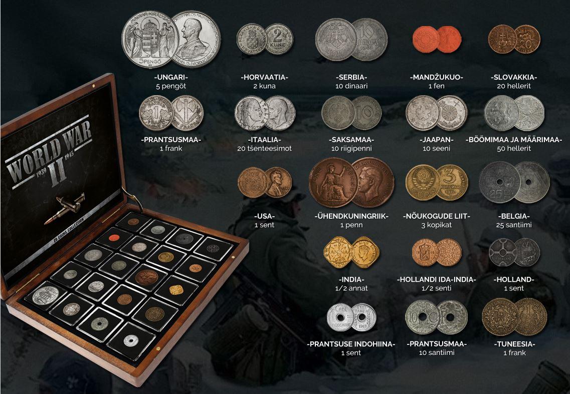 Osake sellest traagilisest ajaloost, tunnistus neist rahututest ja veristest aegadest, on vermitud Teise maailmasõja ajal Euroopa, Aafrika, Aasia ja Põhja-Ameerika riikides välja antud müntidesse.