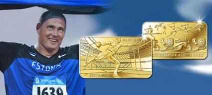 Eesti olümpiasangar Gerd Kanter jäädvustati kuldplaadile