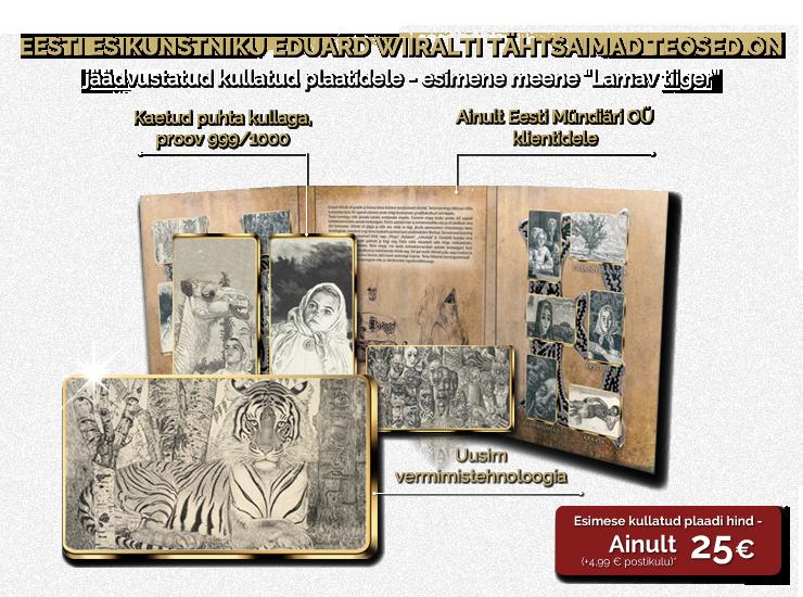 Eesti esikunstniku Eduard Wiiralti tähtsaimad teosed on jäädvustatud kullatud plaatidele