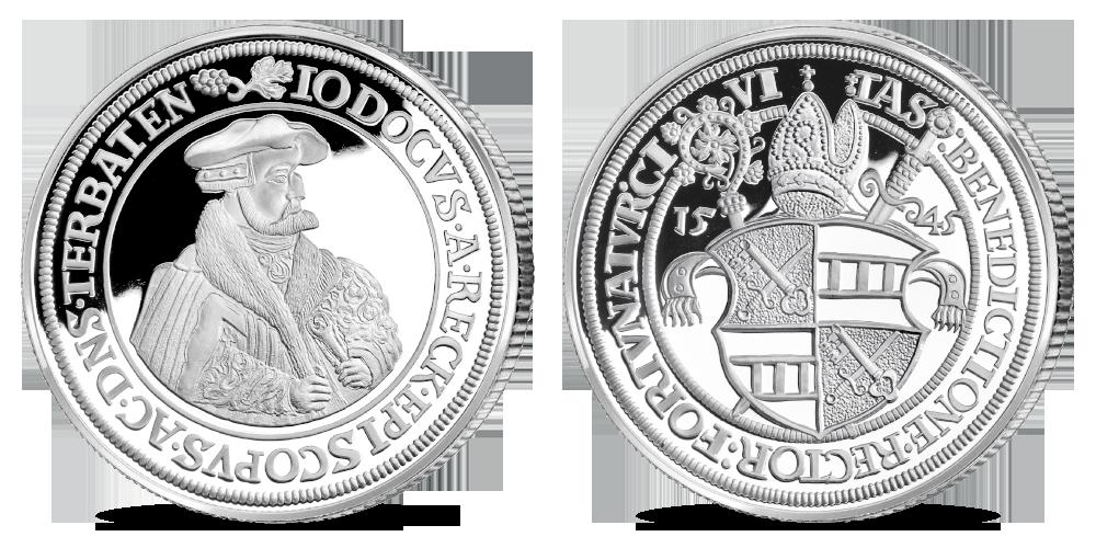"""Kollektsioon """"Eesti mündid läbi aegade"""", esimene koopia """"Tartu piiskop Jodukus von der Recke, topelttaaler 1545"""""""