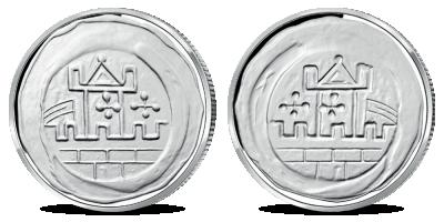 """Kollektsioon """"Eesti mündid läbi aegade"""", esimene koopia """"Taani kuninga Valdemar II brakteaat"""""""