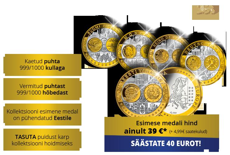 """Kollektsioon """"Esimeste eurode medalid"""", esimene medal """"Eesti euromedal"""""""