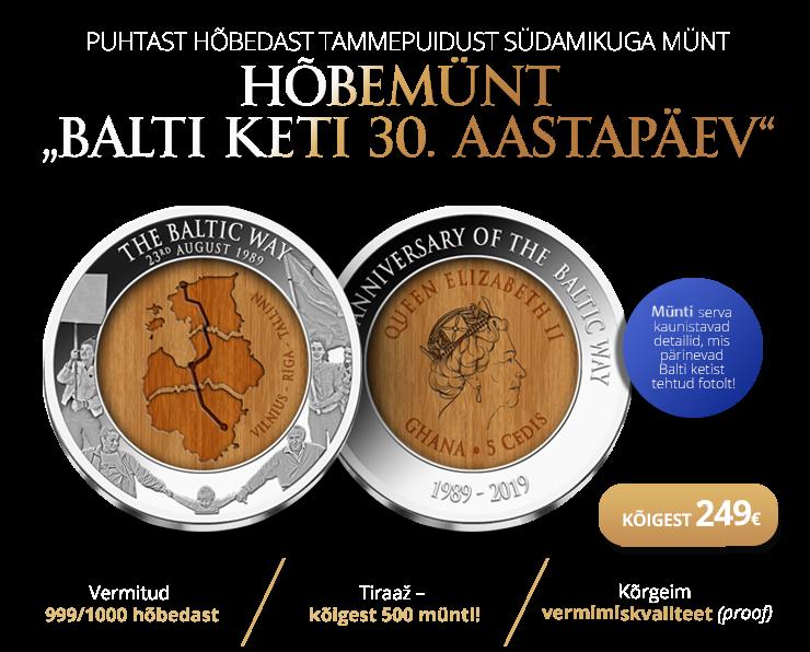 """Puhtast hõbedast münt """"Balti keti 30. aastapäev"""""""