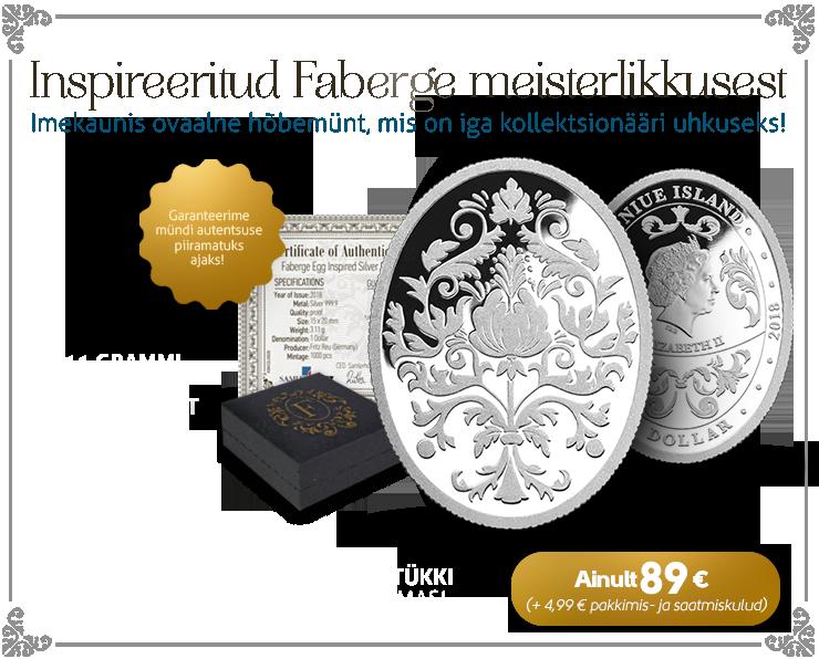 Keiserlikest Fabergé juveelmunadest inspireeritud hõbemünt