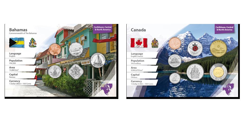 """Kollektsioon  """"Maailma raha"""", esimene saadetis - Bahama ja Kanada"""