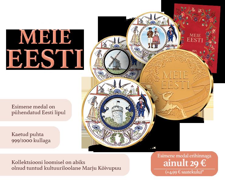"""Kollektsioon """"Meie Eesti"""", esimene medal """"Eesti lipp"""""""