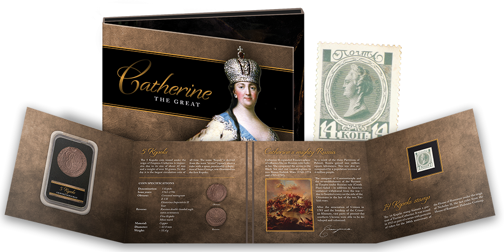 """Mündist ja postmargist koosnev komplekt """"Katariina II"""""""