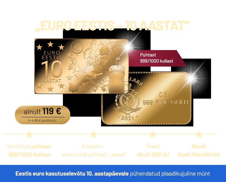 """Kuldmünt """"Euro Eestis – 10 aastat"""""""