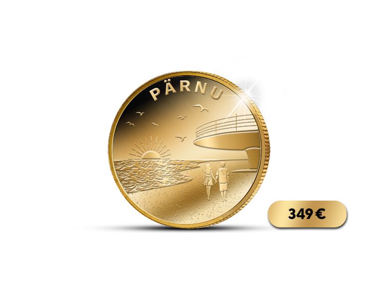 """Puhtast kullast münt """"Pärnu – Eesti suvepealinn"""""""