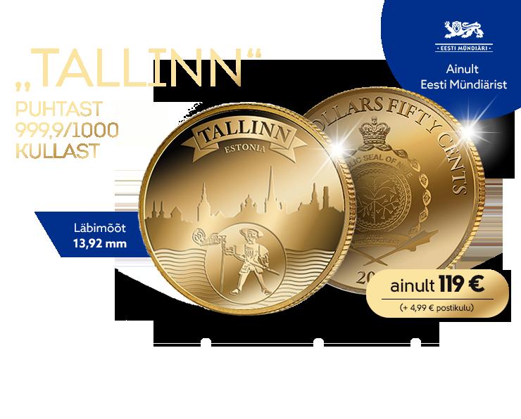 """Puhtast kullast münt """"Tallinn"""""""
