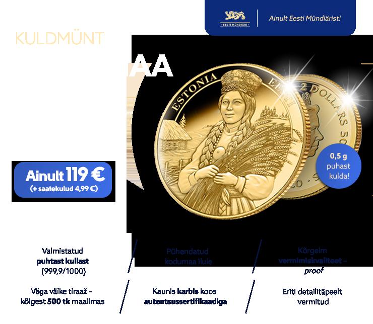 """Kuldmünt """"Eestimaa kaunis naine"""""""