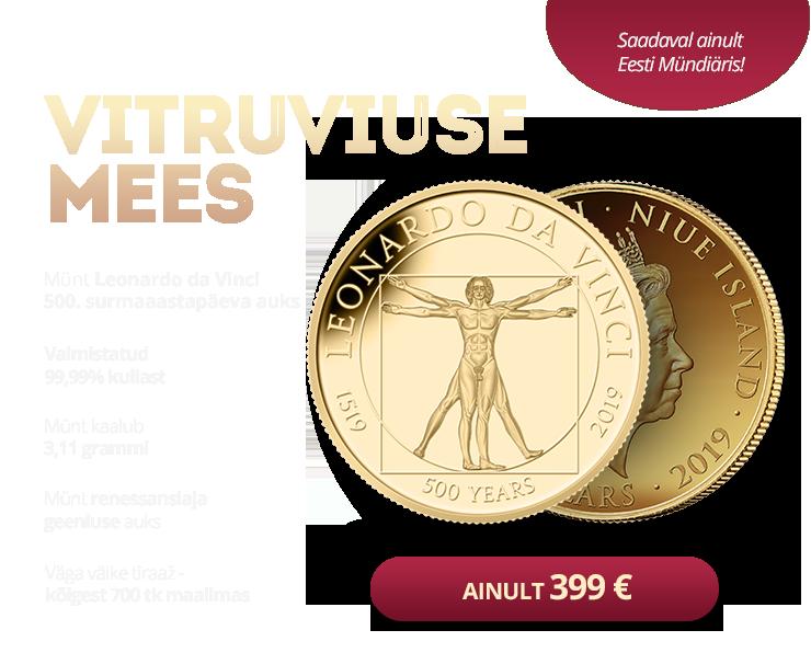 """Puhtast kullast münt """"Vitruviuse mees"""" 3,11 g"""