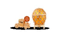 """Kullatud ehtekarp inspireeritud Fabergé munast """"Kroonimine"""" (kollane)"""