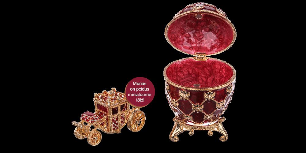 """Kullatud ehtekarp inspireeritud Fabergé munast """"Kroonimine"""" (punane)"""
