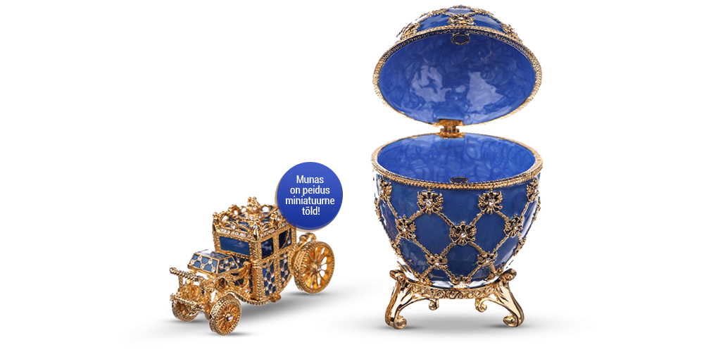 """Kullatud ehtekarp inspireeritud Fabergé munast """"Kroonimine"""" (sinine)"""