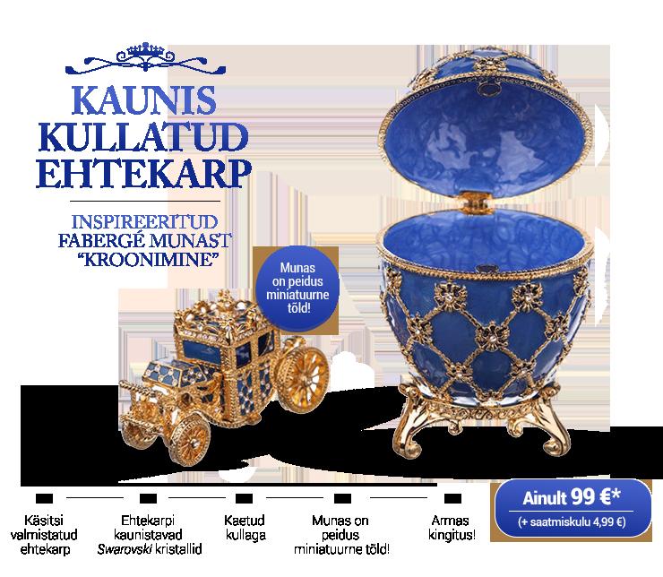 """Kullatud ehtekarp inspireeritud Fabergé munast """"Kroonimine"""""""