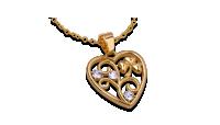 Kullatud südamekujuline ripats koos ketiga