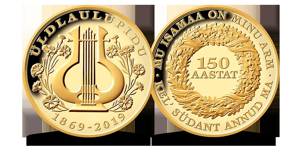 """Kullatud medal """"150 aastat laulupidu"""""""