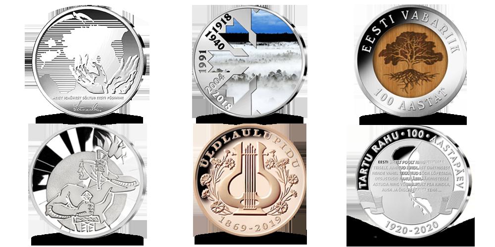 """Komplekt """"Kümnendi kõige olulisemad medalid"""""""
