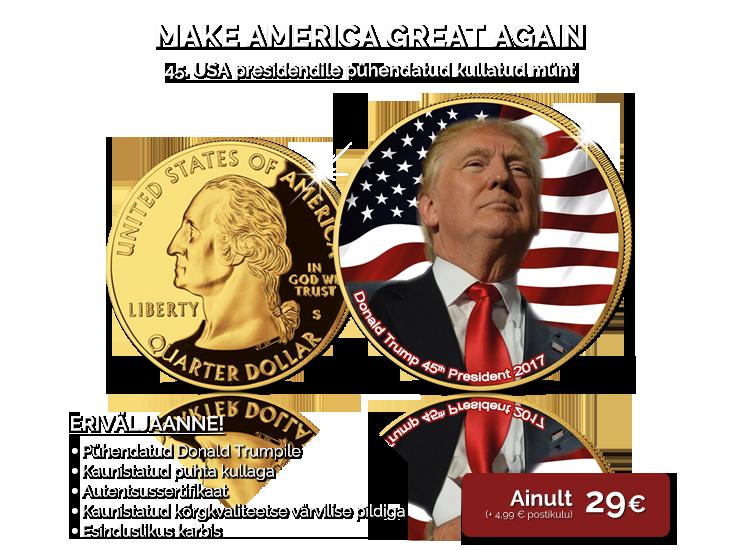 """Kullatud münt 45. USA presidendile """"Donald Trump"""""""