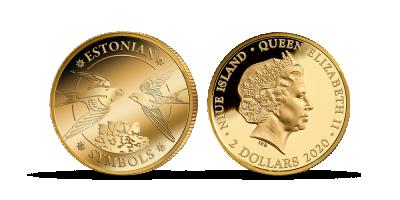 """Puhtast kullast müntide kollektsioon """"Eestimaa sümbolid"""", esimene münt"""