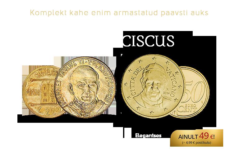 """Mündikomplekt """"Paavstid Johannes Paulus II ja Franciscus"""""""