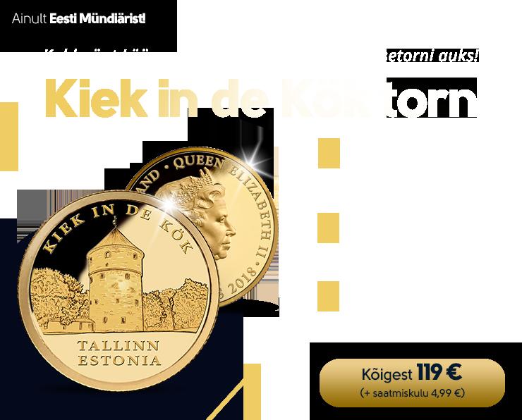"""Puhtast kullast münt """"Kiek in de Kök torn"""" 0,5 g"""