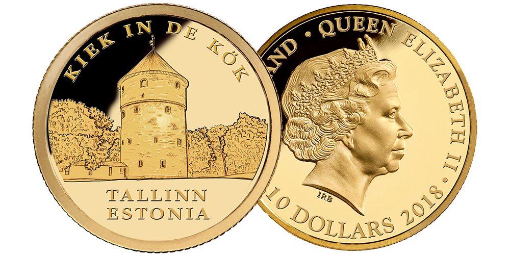 Pure gold coin honoring historic fortification of Tallinn