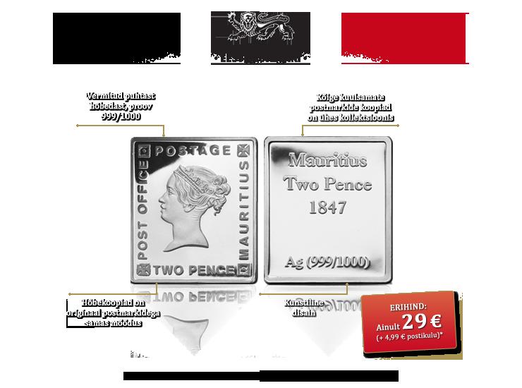 """Kollektsioon """"Väärtuslikemad puhtast hõbedast postmargid"""", esimene hõbekoopia – """"Sinine Mauritius"""""""