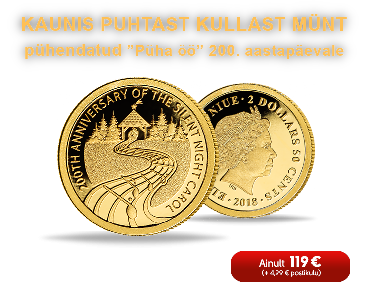 """Puhtast kullast münt vermitud """"Püha öö"""" 200. aastapäeva auks"""