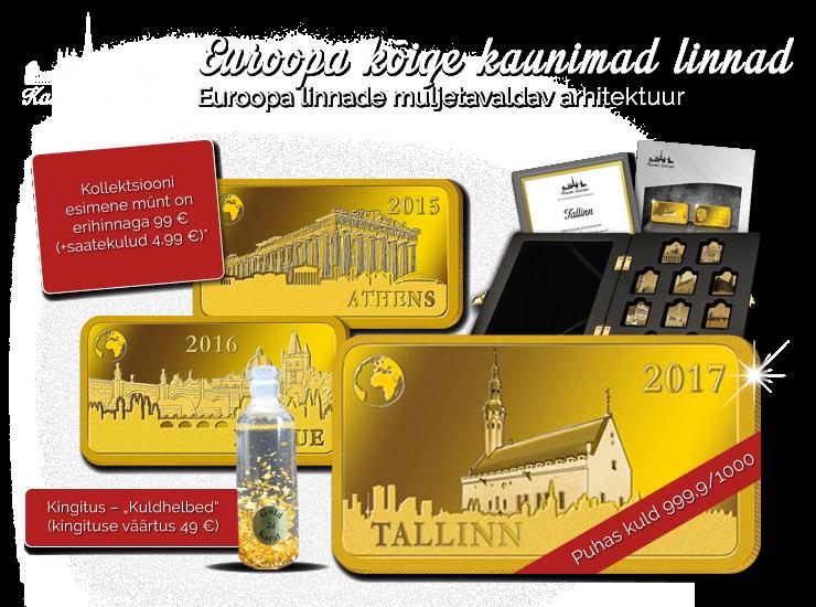 """Puhtast kullast müntide kollektsioon """"Kaunis Euroopa"""", esimene münt """"Tallinn"""""""