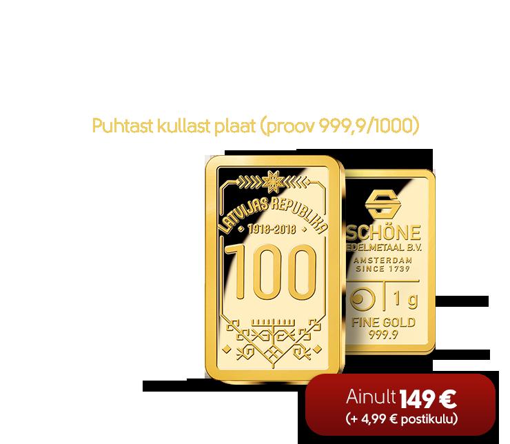 "1,0 g puhtast kullast plaat ""Läti Vabariik 100"""