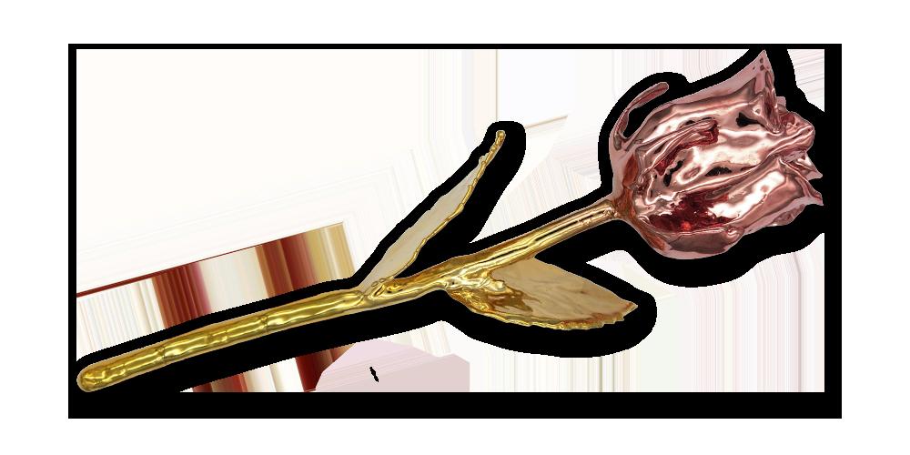 Tõeline roos, kaetud kollase ja roosa kullaga