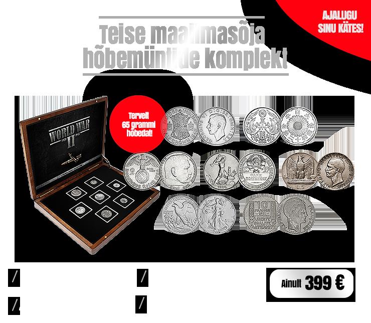 Teise maailmasõja hõbemüntide komplekt