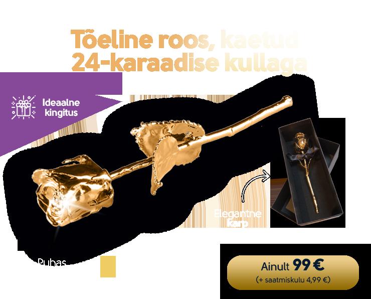 """""""Tõeline roos"""", kaetud 24-karaadise kullaga"""