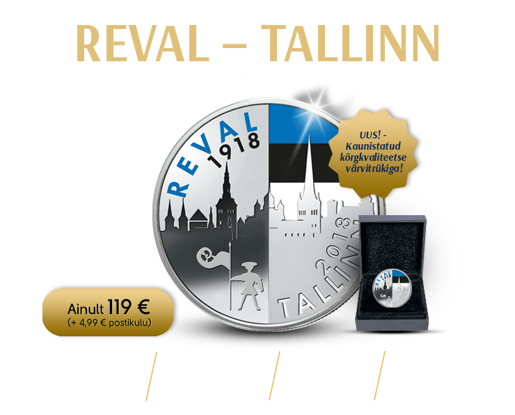 """Värviline hõbemünt """"Reval-Tallinn"""""""